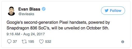 骇科技丨evleaks爆料:谷歌Pixel 2手机10月5日发布,抢发骁龙836、安卓8.0