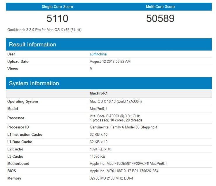 骇科技丨苹果新Mac/iMac Pro跑分曝光 搭载10核i9