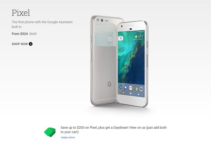 Google Pixel和Pixel XL都降价了,最高降幅达200美元