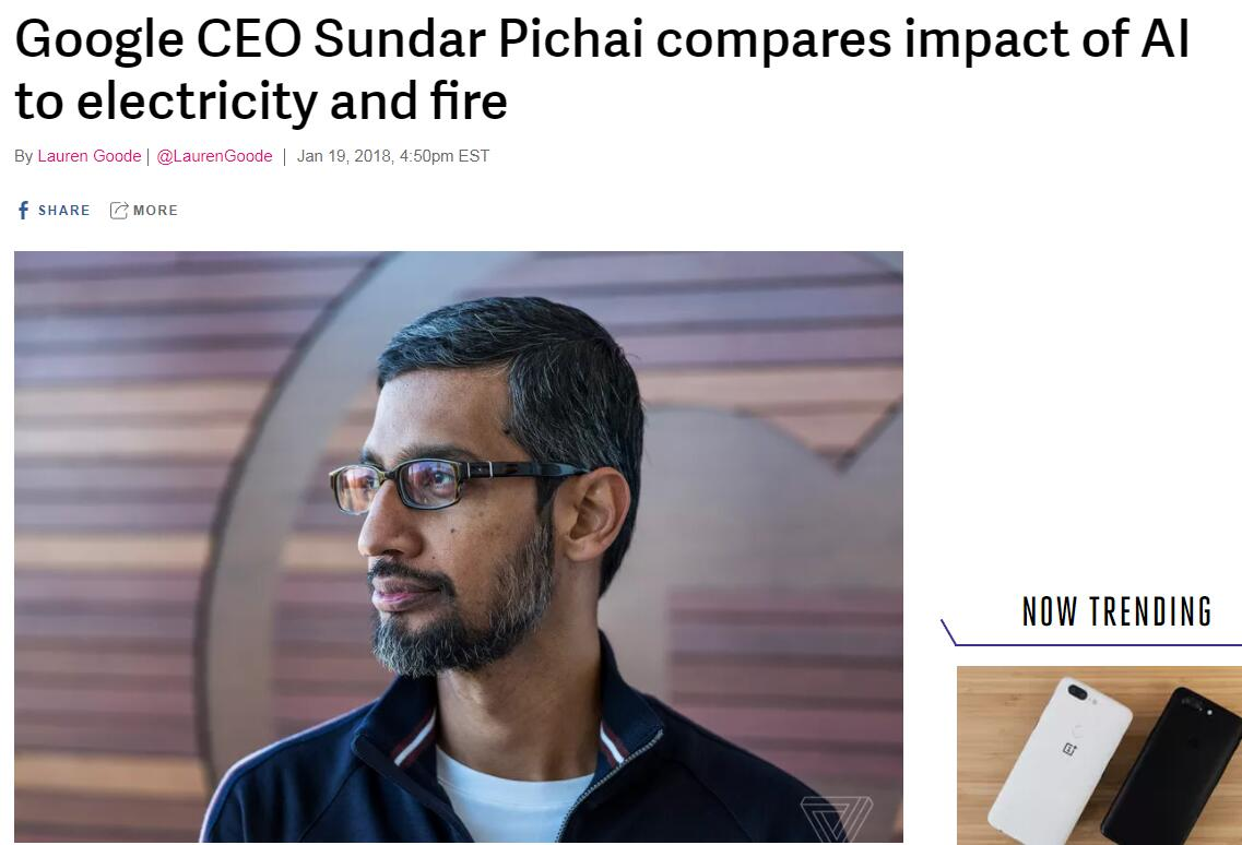 BT丨谷歌CEO皮查伊:AI比火和电的意义还要重大